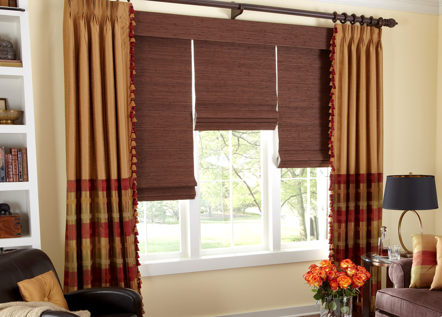 Roman shades by galaxy draperies los angeles ca for Motorized shades los angeles