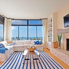 Beach Styled Cream Living Room Draperies