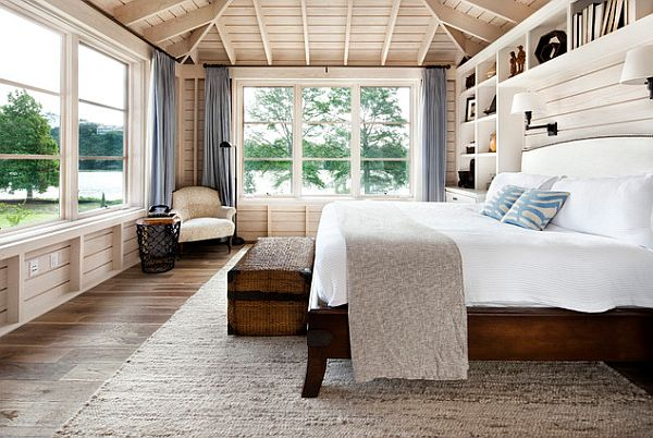 Country-modern-bedroom-with-wooden-bed-frame