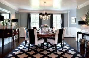 Glam Hollywood Dining Room Black Draperies