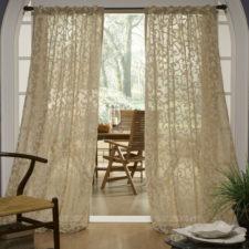Sheer Cream Curtains on Decorative Rod
