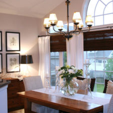 Kitchen Bamboo Shades and Linen Curtains