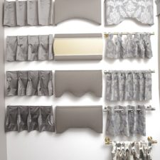 Eight styles of drapery pleats around five styles of fabric wrapped cornices.