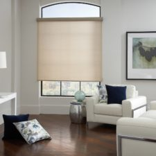 Semi open textured roller shade in a modern living room