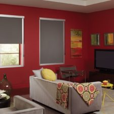 Two flat grey roller shades in a red painted living room match the couches and rug to balance the room.