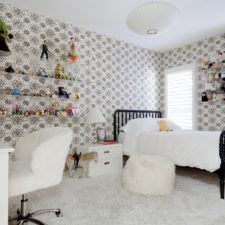 Vinyl shutters covering two windows a modern designed children's bedroom.