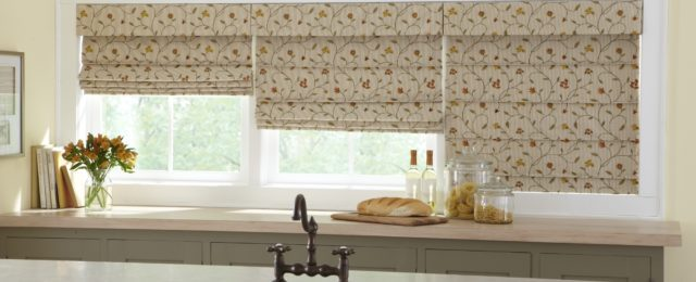 Fabric Roman Shades in a Kitchen