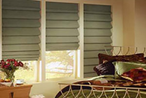 Custom Green Roman Shades made in Los Angeles, CA