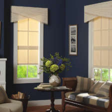 Two windows in a living room each with a cornice with diagonally arched pleating and trim over flat roman shades with the same trim.