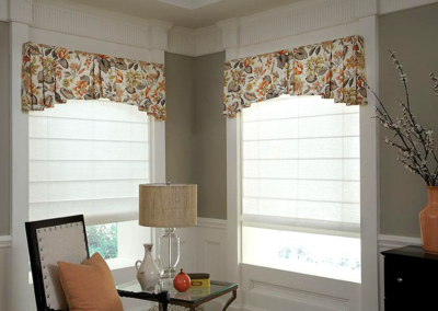 Fabric Valance & Roman Shades