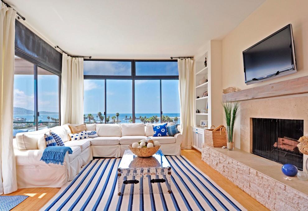 corner-window-treatments-Living-Room-Beach-with-almond-walls-beach-house
