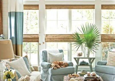 Coastal Woven Shades and Color Block Draperies