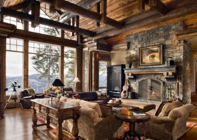 Modern rustic flare with plenty of texture on the wood, fabrics, stone and more.