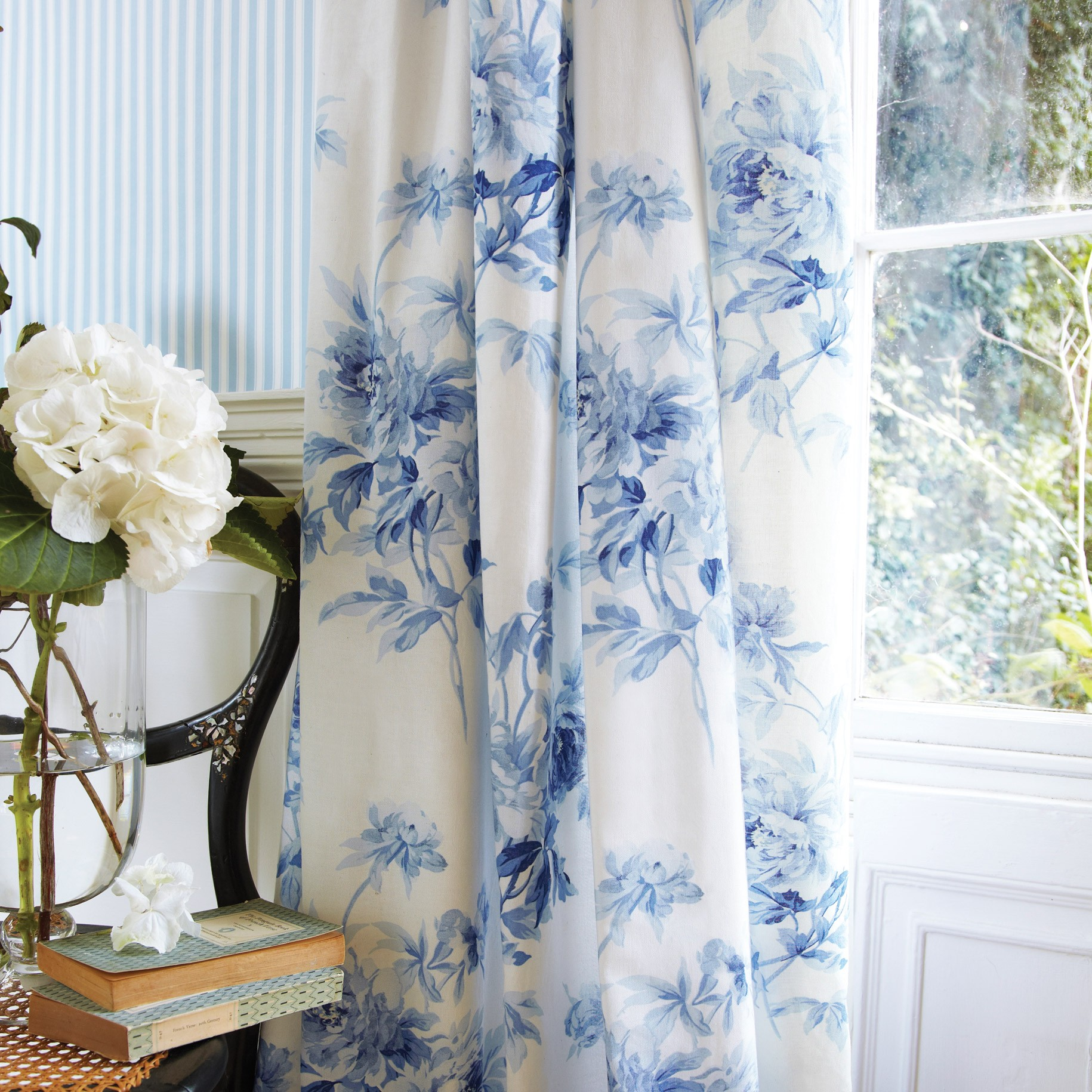 Perfect Blue Floral Curtains   5 Linen Dry Ideas Cynthia Jacobean Shower Curtain In  Blue In Blue Floral Curtains