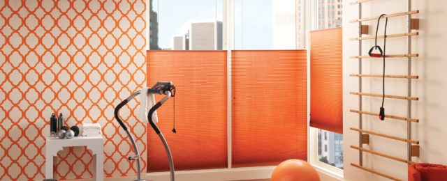 Vibrant Orange Decorative Window Shades & Blinds Custom in a home gym.