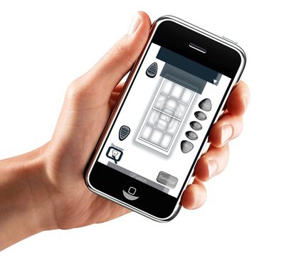 Hand holding a iPhone with the motorization window treatment control platform on display.
