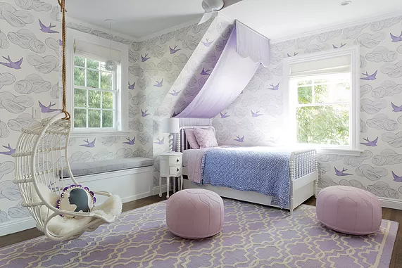 Lavender Themed Girls Bedroom with Birds and Angled Ceiling