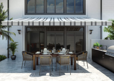 Outdoor dining spaces look more sophisticated without large umbrellas.