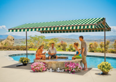 Freestanding awnings like the Oasis give you shade wherever you need it most.