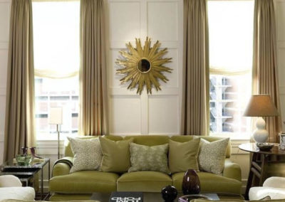 Custom drapes that pull back to allow plenty of light to come through.