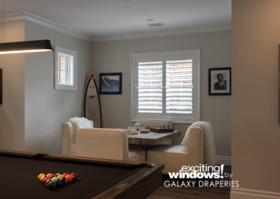 Shutters in the game room add a nice, clean touch.