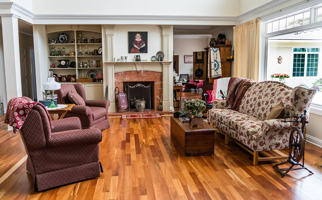 large living room with traditional style furniture and decor