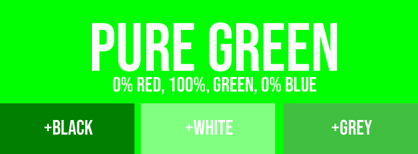 Pure green with added black, white or grey