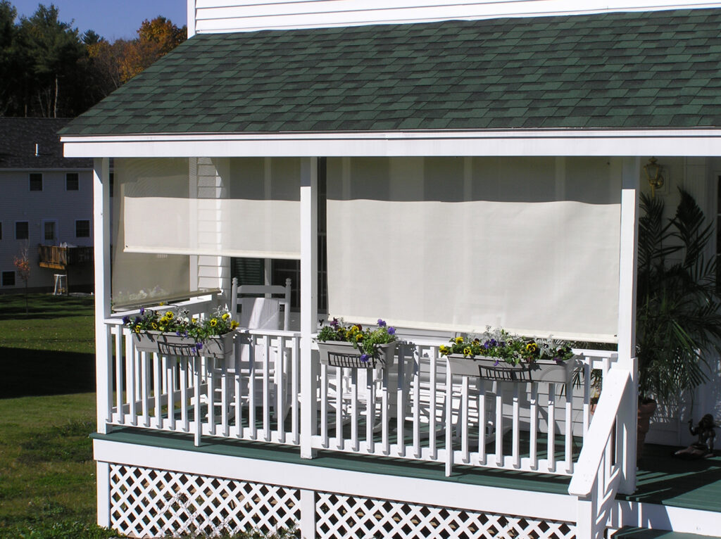 Easy Shades External Solar Shades prevent sun damage and UV ray exposure on a porch