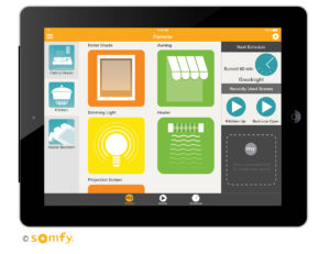 Somfy MyLink automation control program on an ipad