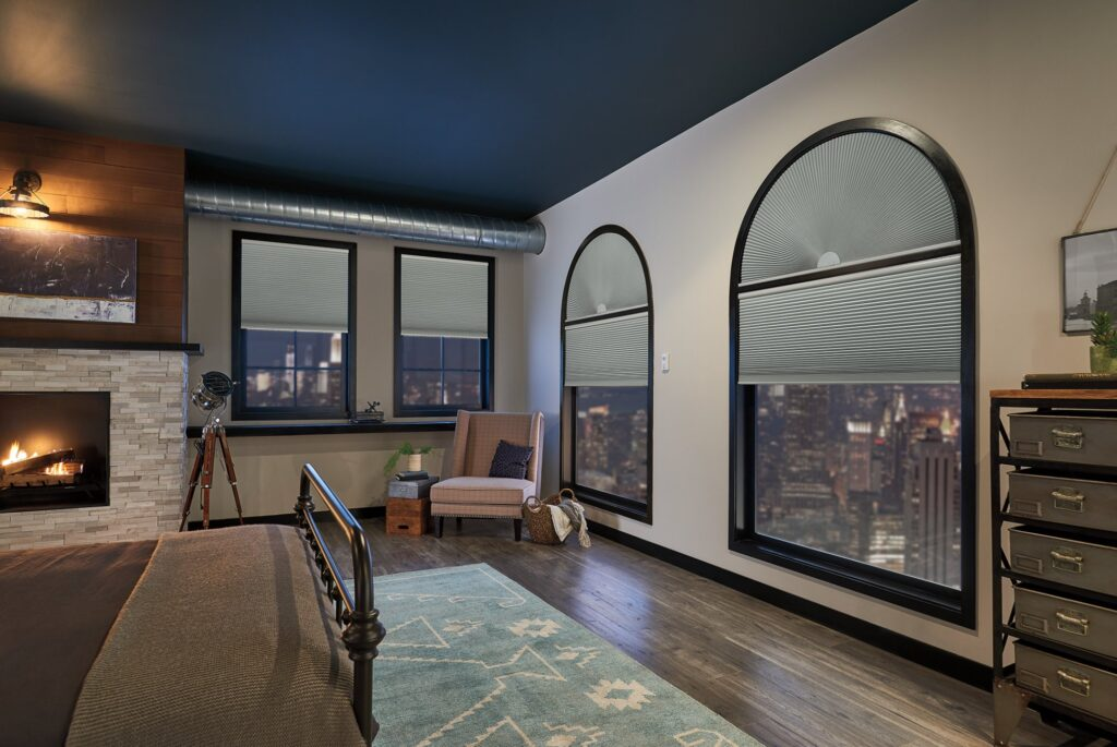 Cellular shades cover both arched window tops and the window itself in a modern living room